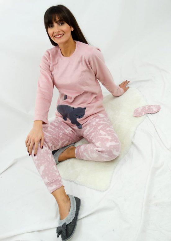 Πιτζάμα φλις pink cat